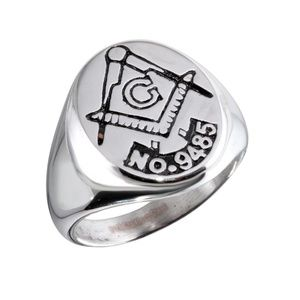 Other - Men's Stainless Steel Plated Round Masonic Ring